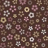 Bruin naadloos patroon met gouden bloemen royalty-vrije illustratie
