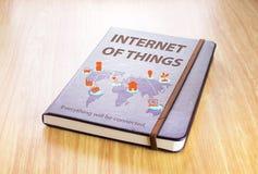 Bruin notitieboekje met Internet van dingenwoord en globale kaart met Stock Foto