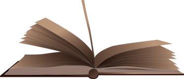 Bruin open boek geïsoleerd op wit Stock Afbeeldingen