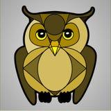 Bruin Owl Staring Straight Ahead Stock Foto