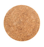 Bruin Rond Cork Coaster Isolated op Wit stock foto