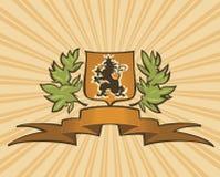 Bruin schild met leeuw Royalty-vrije Stock Afbeeldingen