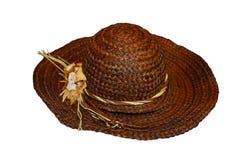 Bruin Straw Hat Stock Foto