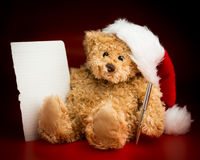 Bruin Teddy Bear Writing een Brief aan Santa Claus Stock Foto's