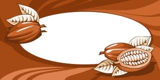 Bruin van het cacaoboonstilleven abstract horizontaal kader als achtergrond stock illustratie