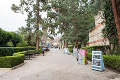 Bruin Walk on UCLA campus. Los Angeles, CA: May 7, 2017: Bruin Walk on the UCLA campus. UCLA is a public university in the Los Angeles area Stock Photos
