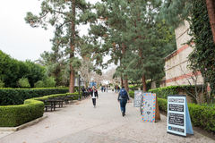Bruin Walk on UCLA campus. Los Angeles, CA: May 7, 2017: Bruin Walk on the UCLA campus. UCLA is a public university in the Los Angeles area Stock Photo
