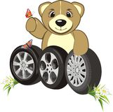 Bruin with wheels of cars. Abstract composition Royalty Free Stock Photo
