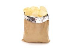 Bruin zakhoogtepunt van chips stock afbeelding