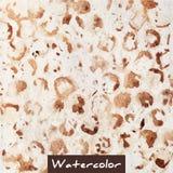 Bruine abstracte waterverfhand - gemaakte achtergrond Royalty-vrije Stock Foto's