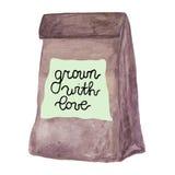 Bruine ambachtdocument zak met gegroeid met liefdekenteken stock illustratie