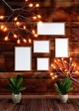 Bruine bakstenen muurachtergrond die met de verlichting van de takglimworm, lege fotokaders en bladerenvaas wordt verfraaid voor  stock illustratie
