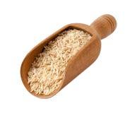 Bruine Basmati Wilde Rijst in een Houten Lepel Stock Afbeelding