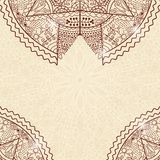 Bruine Beige Uitnodigingskaart met Kant Mandala Decoration Royalty-vrije Stock Fotografie