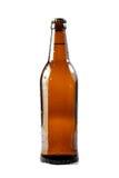 Bruine bierfles met waterdalingen. Royalty-vrije Stock Fotografie