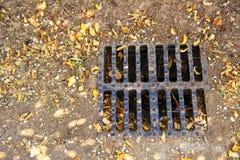 Bruine bladeren rond een droog het afvoerkanaaltraliewerk van het regenwater - droogteconcept Stock Foto