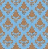 Bruine bloemen op blauwe naadloos Royalty-vrije Stock Fotografie