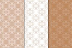 Bruine bloemenachtergronden Reeks naadloze patronen Stock Afbeeldingen