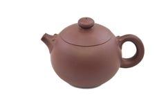 Bruine ceramische theepot Stock Foto's