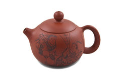 Bruine ceramische theepot die met tekening wordt verfraaid Royalty-vrije Stock Afbeelding