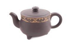 Bruine ceramische theepot met dekking Royalty-vrije Stock Afbeelding