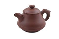 Bruine ceramische theepot met dekking Stock Foto's