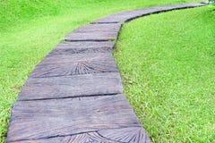 Bruine concrete gang met groen gras op de parkachtergrond royalty-vrije stock afbeelding