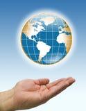 Bruine de wereld blauwe rug van handen stock illustratie