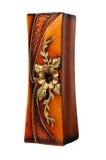 Bruine decoratieve die vaas voor bloemen op witte achtergrond worden geïsoleerd Ceramische vaas Royalty-vrije Stock Afbeelding