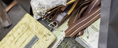 Bruine delen van handtassen Royalty-vrije Stock Foto