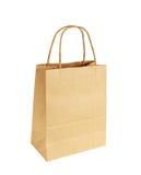Bruine die het Winkelen Zak met Handvatten op Witte Achtergrond worden geïsoleerd Royalty-vrije Stock Afbeelding