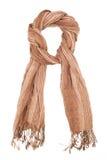 Bruine die linnensjaal op een witte achtergrond wordt geïsoleerd Royalty-vrije Stock Foto's