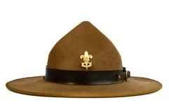 Bruine die randhoed (hoed van verkenner) op witte bedelaars wordt geïsoleerd Royalty-vrije Stock Foto
