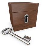 Bruine doos met slot en sleutel Stock Afbeelding