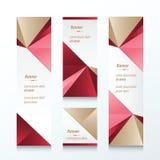 Bruine driehoeks Verticale Banner, Roze, Rood Stock Fotografie