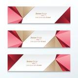 Bruine driehoeksbanner, Roze, Rood Royalty-vrije Stock Afbeeldingen