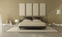 Bruine en beige slaapkamer Royalty-vrije Stock Fotografie