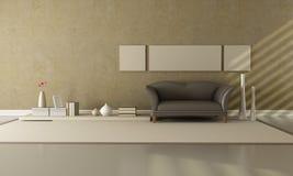 Bruine en beige zitkamer Stock Afbeeldingen