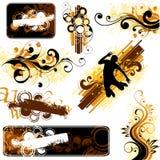 Bruine en gele ontwerpen Stock Afbeeldingen