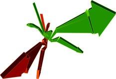 Bruine en Groene 3D Pijlen Royalty-vrije Stock Afbeeldingen