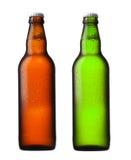 Bruine en groene bierflessen stock afbeeldingen
