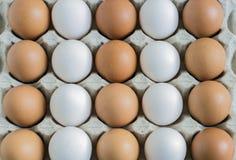 Bruine en witte eieren, achtergrond Royalty-vrije Stock Afbeeldingen