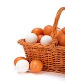 Bruine en witte eieren in mand Royalty-vrije Stock Foto's