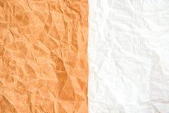 Bruine en witte gerimpelde document textuur, conceptenachtergrond royalty-vrije stock foto's
