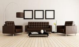 Bruine en witte woonkamer Stock Afbeelding