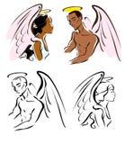 Bruine engelen royalty-vrije illustratie