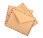 Bruine geïsoleerde Enveloppen Sluit omhoog Stock Fotografie