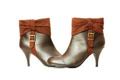 Bruine geïsoleerdeg laarzen Stock Foto's