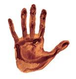 Bruine geïsoleerder handprint Stock Afbeelding