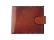 Bruine glanzende portefeuille op witte achtergrond Stock Foto's